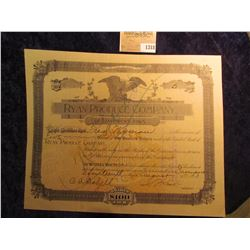 "1318 _ August 14th, 1893 Stock Certificate for 5 Shares of ""Ryan Produce Company of Davenport, Iowa"""