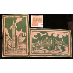 "1323 _ ""New York 1939 Brooklyn Bridge"" & ""New York 1939 Rockefeller Center"" Cigar Company Cloth Bann"