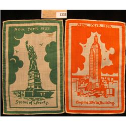 "1338 _ ""New York 1939 Statue of Liberty"" & ""New York 1939 Empire State Building"" Cigar Company Cloth"