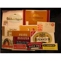 "1342 _ (10) different Mint condition early 1900 Cigar Box labels & a 1914 Post marked ""Chew Yankee G"