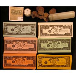 1344 _ Bundle of John Deere VIP Auction Money J.D. Chairman Hewitt's Home; & a solid date roll of 19