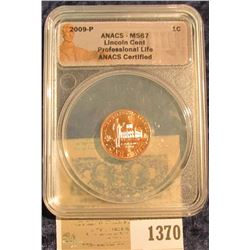 "1370 _ 2009 P ""ANACS - MS67 Lincoln Cent Professional Life ANACS Certified"" and slabbed Lincoln Cent"