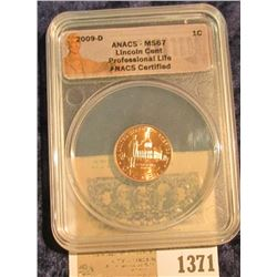 "1371 _ 2009 D ""ANACS - MS67 Lincoln Cent Professional Life ANACS Certified"" and slabbed Lincoln Cent"