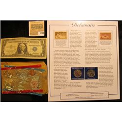 1382 _ Partial Mint Set of 1971 Coins in cellophane (half dollar missing);  a Series 1957 One Dollar