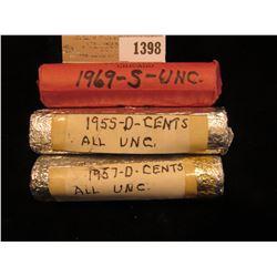 1398 _ 1955 D, 57 D, & 69 S Original BU Rolls of Lincoln Cents.