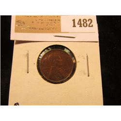 1482 _ 1909 P VDB Lincoln Cent, Brown Almost Uncirculated.