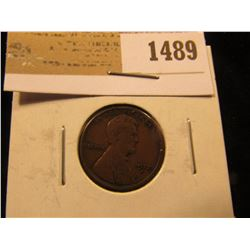 1489 _ 1912 S Lincoln Cent, VG.