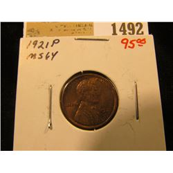 1492 _ 1921 P Lincoln Cent, MS 64. Great lamination toning.