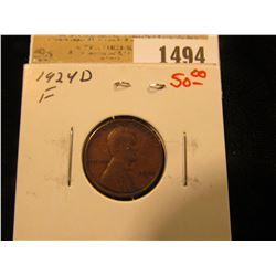 1494 _ 1924 D Lincoln Cent, Fine.