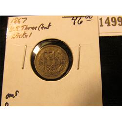 "1499 _ 1867 U.S. Three Cent Nickel. Engraved on Rev. ""Col./Green/1867""."