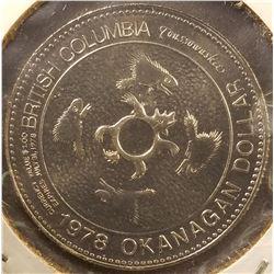 """1505 _ """"Nicola c.1780 c.1865"""", """"British Columbia Okanagan Dollar"""", Gem BU."""