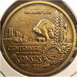 1506 _ 1861-1961 Kansas Centennial Medal, Bronze, high relief, BU.