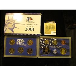 1513 _ 2001 S U.S. Proof Set, Original as issued. A nice attractive set with all coins exhibiting Ca