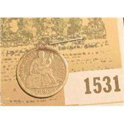 1531 _ 1890 U.S. Seated Liberty Dime, Very Good.