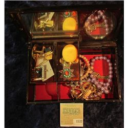 1533 _ Mirrored Plastic Jewelry Box with swirled wood design containing a variety of old Costume Jew