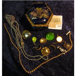 1535 _ Enameled Jewelry Box with Carriage design with an interesting assortment of costume Jewelry.