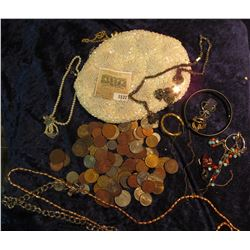 1537 _ White H& made Beaded & clasp lock Purse containing  a variety of costume Jewelry & Foreign co