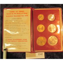 1542 _ Coins of Israel Issued by the Bank of Israel Jerusalem Specimen Set 1970. Six-pieces.