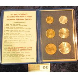 1543 _ Coins of Israel Issued by the Bank of Israel Jerusalem Specimen Set 1971. Six-pieces.