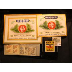 """1552 _ """"White Pepper"""" & """"Tomato Catsup"""" colorful Box labels issued by """"Four Br& """", all Mint conditio"""
