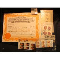 "1553 _ Unissued ""The Cilkoid Company Marshalltown, Iowa"" Stock Certificate; plateblock 1859 1959 Sil"