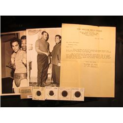 """1559 _ Pair of 8"""" x 10"""" B & W Boxing Champion Photos; 1928 letter on letterhead """"The Miller Drug Sto"""