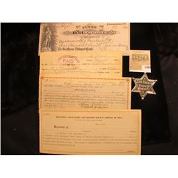 """1564 _ 1927 Check drawn on """"First National Bank Belle Fourche, S.D.""""; 1917 Promissory Note payable t"""