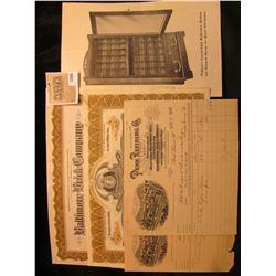 "1566 _ 25 Share Stock Certificate ""Hydraulic-Press Brick Company"", St. Louis, Mo.; 125 Share Stock C"