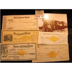 "1567 _ ""Virginia & Truckee Railroad"" Post card; & 1866-1901 checks from the following Iowa Towns:Sta"