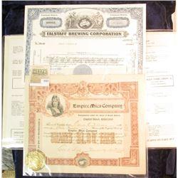 "1571 _ Blank Originals for a ""Fine Foods"" Menu (no prices); 1967 Stock Certifcate for 30 Shares ""Fal"