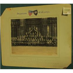"""1574 _ Oxford University """"American Club, 1914"""" Large matted photo with names of members."""