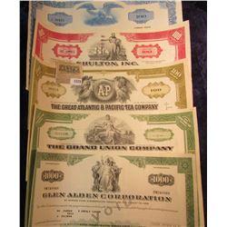 "1579 _ (5) Different Stock Certificates: ""The Gr& Junction Company""; ""Glen Alden Corporation""; ""The"