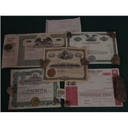 """1586 _ 1874 Collector's Office, Muscatine, Iowa Tax Receipt; Stock Certificate """"Citizens Bank of Che"""