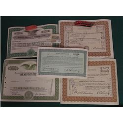 """1592 _ (5) Old Stock Certificates dating back to 1951. Includes """"Bankers National Life Insurance Com"""