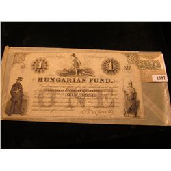 1597 _ $1 February 2nd, 1852 :Hungarian Fund Bank note. Depicts a warrior stepping on a defeated Kin