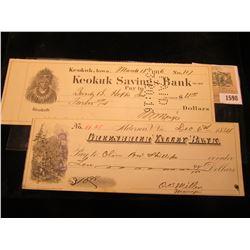 """1598 _ 1916 Check depicting Chief Keokuk """"Keokuk Savings Bank"""", Keokuk, Ia.; & 1884 cancelled check"""
