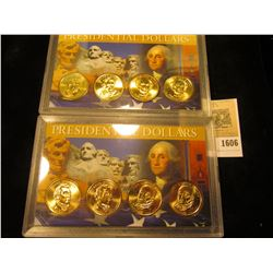 1606 _ James Monroe P & D, pair of John Quincy Adams P & D Presidential Dollars in a special case of
