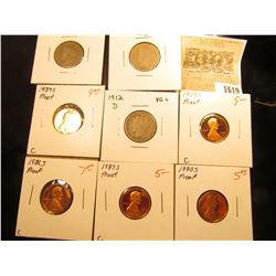 "1619 _ 1883 with CENTS, 1896, & 1912 D Liberty ""V"" Nickels. AG-VG; 1986 S, 87 S, 88 S, 89 S, & 90 S"