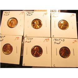 1621 _ 1959P, 60 P Large Date, 61 P, 62 P, 63 P & 64 P U.S. Proof Lincoln Cents.