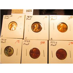 1625 _ 1962 P, 69 S, 70 S LD, 75 S 76 S, & 77 S U.S. Proof Lincoln Cents.