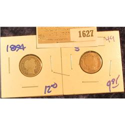 1627 _ 1894 P & 1914-S BARBER DIMES