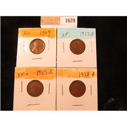 1629 _ 1909 P, 27D, S, & 28D Lincoln Cents, all Grading EF.