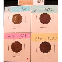 1638 _ 1910P, 27S, 28P & D Lincoln Cents, all Grading EF.