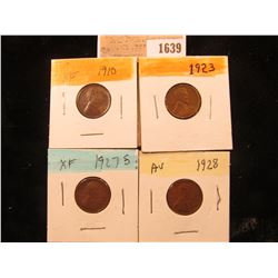 1639 _ 1910P, 23P, 27S, & 28P Lincoln Cents, Fine to AU.
