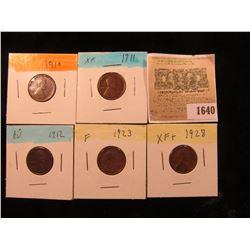 1640 _ 1910P, 11P, 12P, 23P, & 28P Lincoln Cents, Fine to AU.