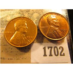 1702 _ Pair of 1937 S Lincoln Cents, Brilliant Red Uncirculated.