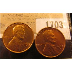 1703 _ Pair of 1937 S Lincoln Cents, Brilliant Red Uncirculated.
