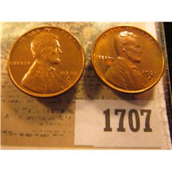 1707 _ Pair of 1935 S Lincoln Cents, Brilliant Red-brown Uncirculated.