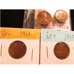1714 _ Pair of 1913 P EF & Pair of 1934 P Red-Brown Uncirculated Lincoln Cents.