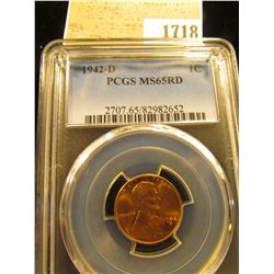 1718 _ 1942 D Lincoln Cent, PCGS slabbed MS65RD